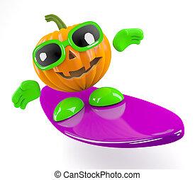 3d Pumpkin man goes surfing