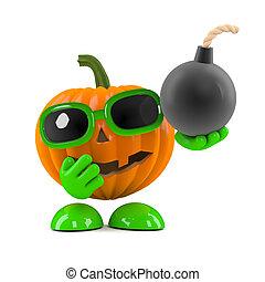 3d Pumpkin man has a bomb