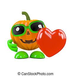 3d Pumpkin man has a heart