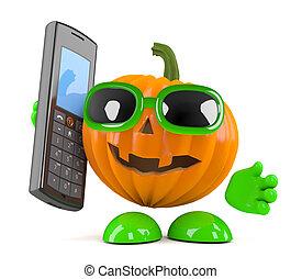 3d Pumpkin man has a mobile phone