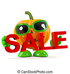 3d Pumpkin man holds a sale - 3d render of a pumpkin...