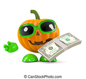 3d Pumpkin man holds US Dollars