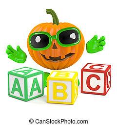 3d Pumpkin man learns the alphabet