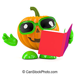 3d Pumpkin man reads a book