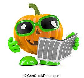 3d Pumpkin man reads the newspaper