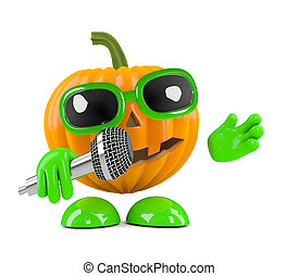 3d Pumpkin man sings into the microphone