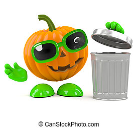 3d Pumpkin man takes out the trash