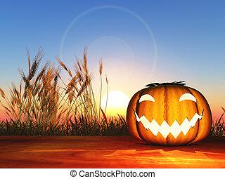 3D pumpkin on a wooden table against a sunset sky
