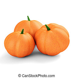 3d pumpkin on white background