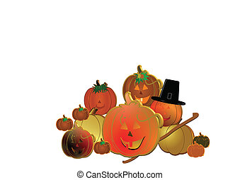 3d pumpkins on white
