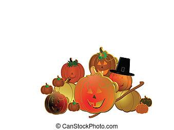 3d pumpkins on white