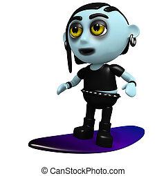 3d Punk goth goes surfing