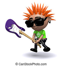 3d Punk smashes guitar - 3d render of a punk smashing an...