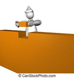 3D puppet building a house