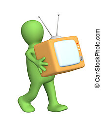 3d puppet, carrying in hands of retro TV