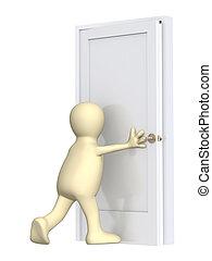 3d puppet, closing a door. Over white