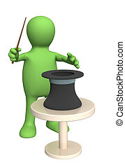3d puppet-conjurer, showing focus with a magic wand