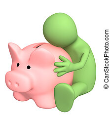 3d puppet, embracing piggy bank - Puppet, embracing piggy...