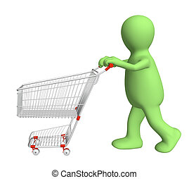 3d puppet, going for purchases - over white