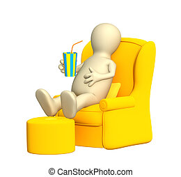 3d puppet, having a rest in a soft armchair. Objects over white