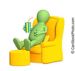 3d puppet, having a rest in a soft armchair