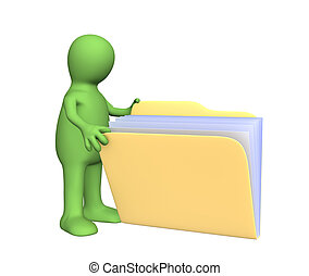3d puppet opening folder - 3d puppet, opening folder with...