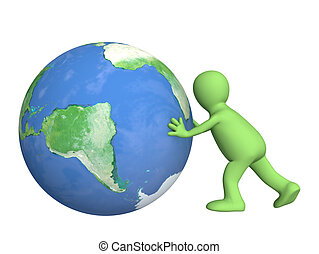 3d puppet, pushing Earth - over white