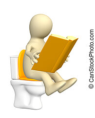 3d puppet, sitting with book on toilet bowl. Objects over ...