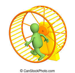 3d puppet - The 3d person - puppet, running inside a wheel