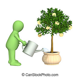 3d puppet, watering monetary tree - Puppet, watering...