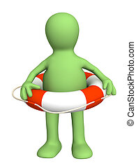 3d puppet with a lifebuoy ring - Puppet with a lifebuoy ring
