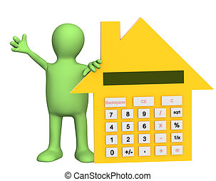 3d puppet with calculator in form of house. Object over white