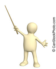 3d puppet with pick. Isolated over white