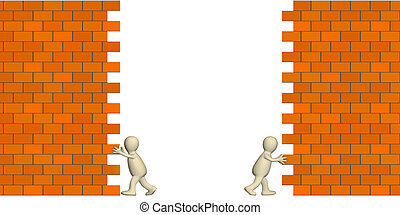 3d puppets creating pass in a brick wall