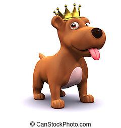 3d Puppy dog gold crown champion - 3d render of a puppy dog ...