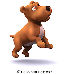 3d Puppy dog leaps in the air - 3d render of a puppy dog ...