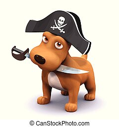 3d render of a dog with a pirates hat and cutlass