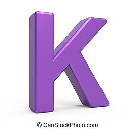 3d purple letter K - left leaning 3d rendering purple letter...