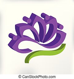 3D purple lotus flower logo