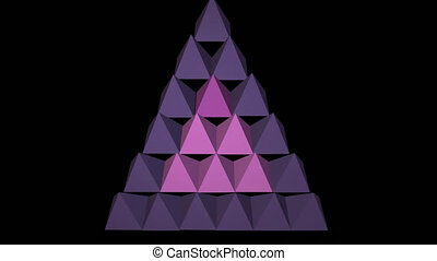 3d purple pyramids abstract video logotype, triangle...