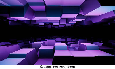 3d Purple techno surface from squared shapes. Alien cyberspace cubes tunnel. Looped animation with alpha channel.