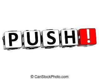 3D Push Button Click Here Block Text