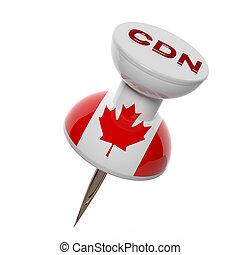 3d, pushpin, met, vlag, van, canada, vrijstaand, op wit