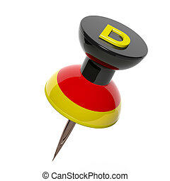 3D pushpin with flag of Germany isolated on white