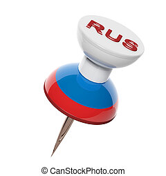 3D pushpin with flag of Russia isolated on white
