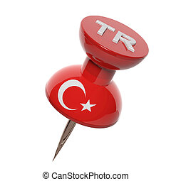 3D pushpin with flag of Turkey isolated on white