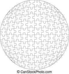 3d puzzle ball in color  - Vector.3d puzzle ball in color