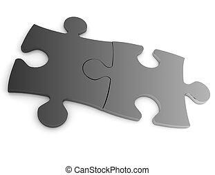 3d, puzzle, concetto, isolato, bianco, fondo