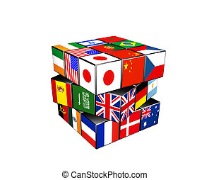 3d puzzle cube with world flags