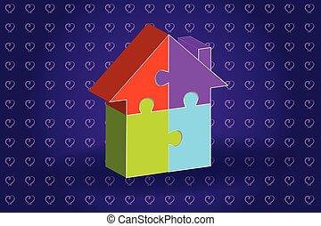 3D puzzle house logo vector